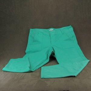 J Crew Kelly Green Durable 100% Cotton Capris